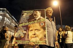 Fotos das manifestações gregas contra Angela Merkel