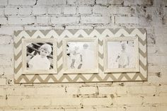 Madera Picture Frame angustiado granero apertura Multi 8 x 8 w / patrón de Chevron crema Vintage