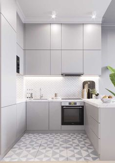 45 Inspiring Tiny Kitchen Design Ideas - You have a new job, and you're happier still about moving to a new neighborhood in the city. Your new apartment seems fine, and it would be perfect if. Kitchen Design, Modern Kitchen, Tiny Kitchen Design, Home Decor Kitchen, Kitchen Room Design, Small Apartment Interior, Kitchen Interior, Minimalist Kitchen, Kitchen Furniture Design