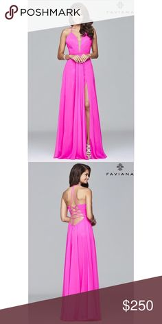 Faviana 7747 Prom Dress Chiffon evening gown with a v neck and left leg slit. Spaghetti straps hook at top of back to create a halter effect. Dress zips up to the waist, then laces up the back. Long enough to be hemmed or worn with heels, and runs a little large. Color listed as ruby on: https://faviana.com/dress-7747.html Faviana Dresses Prom