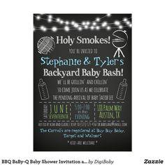 BBQ BaBy-Q Baby Shower Invitation and Book Card Baby Boy #itsaboy #boybaby #babyshower