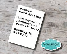 "Custom Card Listing. Dom and Sub. Bondage Card. BDSM Card. Submissive Card. Any words or picture of your choice. 5"" x 7"" Digital Download. by TheDarkSideCards on Etsy"