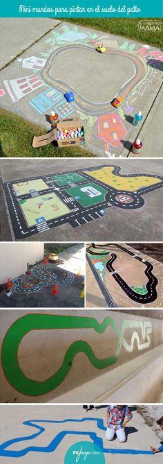 Minimundos pintados para jugar en el patio