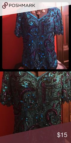 💋dressy sequin blouse💋 Pretty turquoise and purple sequin blouse in good used condition size L laurence kazar Tops Blouses