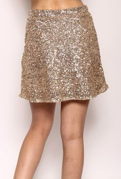 b9c90f7761 Gleam & Glisten Sequin Flared Skater Skirt in Gold Sequin Mini Skirts, Sequin  Skirt,