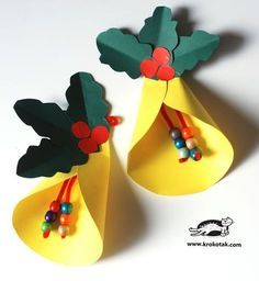 55 Stunning DIY Christmas Crafts for Kids Easy to Copy – Origami Christmas Arts And Crafts, Preschool Christmas, Christmas Bells, Christmas Activities, Christmas Projects, Kids Christmas, Holiday Crafts, Christmas Wreaths, Christmas Ornaments