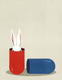 White Rabbit | by Shout Comic, Rabbit Art, Vintage Posters, Illustrations Posters, Art Boards, Vector Art, Red And Blue, Printmaking, Find Art