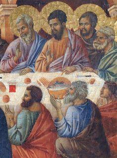 Duccio di Buoninsegna - Coronamento della Maestà (retro) - Apparizione di Cristo durante la cena degli apostoli, dettaglio - 1308-1311 - Tempera e oro su tavola - Museo dell'Opera del Duomo, Siena