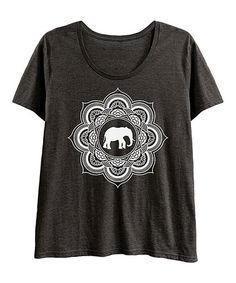 Look at this #zulilyfind! Heather Charcoal & White Elephant Mandala Scoop Neck Tee - Plus #zulilyfinds