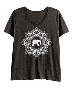 Look at this #zulilyfind! Heather Charcoal & White Elephant Mandala Scoop Neck Tee - Plus #zulilyfinds