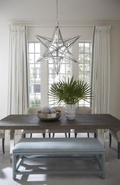 House of Turquoise: Melanie Turner Interiors - gorgeous star chandelier Cottage Dining Rooms, Dining Room Blue, Dining Room Bench, Dining Area, Living Rooms, Mixed Dining Chairs, Metal Dining Table, Dining Tables, Star Chandelier