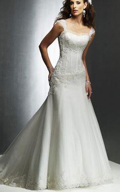 Kapelle Schleppe bodenlanges luxus formelles Brautkleid ohne Ärmeln