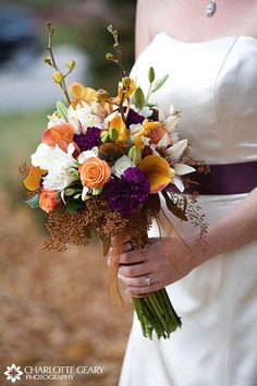 Orange and purple bouquet for a fall wedding