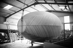 Exbury Egg under construction - black and white photo