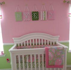 Nursery Letters, Wall Letters, Tutti Fruitti,  Pink and Green Nursery, Pink Nursery Letters, Dot nursery. $21.99, via Etsy.