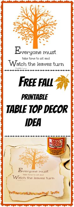 Free fall printable diy table top decor idea. #debbiedoos. Come see the after.