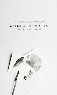 how to watercolor leaves and feathers via besotted