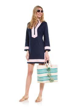 The Classic Long Sleeve linen Tunic Dress Navy