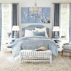 Blue Master Bedroom, Master Bedrooms, Pale Blue Bedrooms, Blue Bedroom Decor, Bedding Master Bedroom, White Bedroom, Dorm Bedding, Master Suite, Hand Tufted Rugs