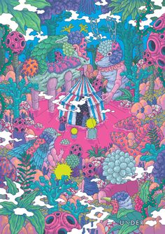 Korean artist Bang Sangho creates illustrations that burst with vibrancy and surrealism. His work combines both ink and digital processes, playing with perspective and astral backdrops. Art Inspo, Inspiration Art, Psychedelic Art, Op Art, Art Hippie, Art Doodle, Art Et Illustration, Weird Creatures, Arte Popular