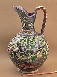 Antique Tlaquepaque Pottery Pitcher Petatillo Mexico Squirrel Bird Vtg Mexican | eBay