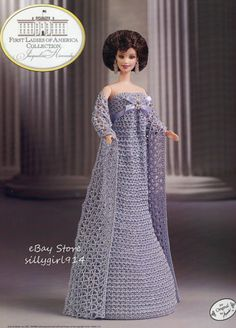"""KENNEDY""~Crochet PATTERN fits BARBIE FASHION DOLL~Annie's FIRST LADIES"