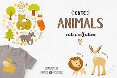 Cute Animals Vector Set by Teneresa on @creativemarket
