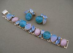 Chunky Art Glass Vintage Bracelet Earrings by ChickenLittleJewelry, $42.95