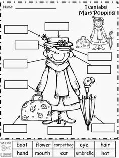 Free: Mary Poppins by Dr. P.L. Travers Labeling Activity.  Have your students cut and glue the label words for Mary Poppins.  Freebie For A Teacher From A Teacher! Enjoy! Regina Davis aka Queen Chaos at Fairy Tales And Fiction By 2.