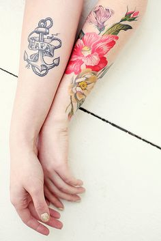 """flowers by Amanda Wachob """"I like tattoos, and I think of them as beautiful art that I can appreciate for the rest of my life. I'm not big on fine jewelry, or luxury handbags and shoes - I'd much rather accessorize with makeup and tattoos."""" -Keiko Lynn"""