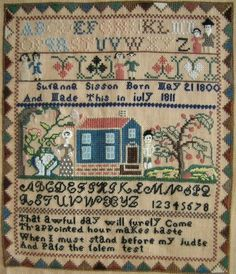 Antique sampler, Susanna Sisson, aged 11. July 1811.  Embroidery