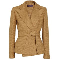 Ralph Lauren Collection Eldridge basketweave cotton-blend jacket (£715) ❤ liked on Polyvore featuring outerwear, jackets, coats, blazers, coats & jackets, ralph lauren collection, brown blazer, tie belt, brown jacket and blazer jacket