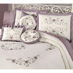 The cotton Vintage Bloom Daybed Bedding Set includes a daybed cover and three standard shams. Daybed cover and shams feature embroidered, dusty lavender. Daybed Sets, Daybed Bedding, Daybed Covers, Luxury Bedding Collections, Bedroom Paint Colors, Bed Spreads, Bedroom Decor, Bedroom Ideas, Comforters
