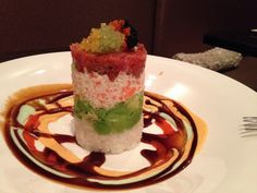 Edoko Tower Rice topped with cucumber, avocado, crab meat, spicy seasoned cubed tuna and caviar, served with 4 house special sauces Edoko Sushi & Robata 5490 Hwy 121  Frisco, Tx 75034 214-618-9888 http://edokosushi.com Photo by Tripp Payne http://www.zydecomedia.com