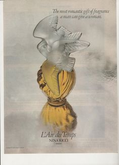 1979 L'air du Temps Advertisement 70s Perfume Style Scent Fragrance Color Nina Ricci Paris France French Romantic Gift Wall Art Decor