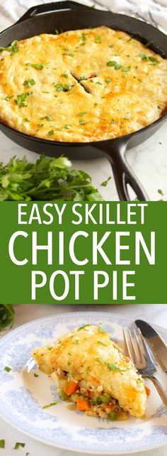 This Easy Skillet Chicken Pot Pie is the perfect comfort food for a weeknight family meal made from simple ingredients in just over 30 minutes! Recipe from thebusybaker.ca #comfortfood #easychickenrecipe via @busybakerblog