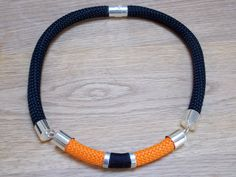 Black and Orange Climbing Rope Necklace by CapAciousPendants