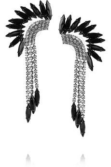 Elizabeth Cole Hematite-plated Swarovski crystal mohawk earrings