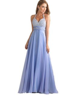 Sequin Thin Strap Prom Dress - in Light Blue