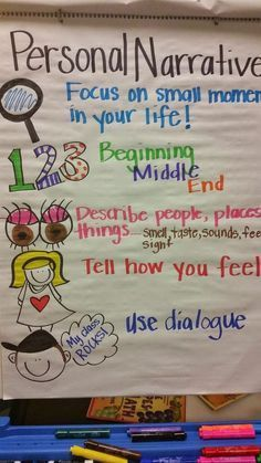 Personal narrative anchor chart for kindergarten and first grade writing anchor charts, anchor charts first Narrative Anchor Chart, Kindergarten Anchor Charts, Personal Narrative Writing, Writing Anchor Charts, Kindergarten Writing, Teaching Writing, Writing Activities, Personal Narratives, Informational Writing