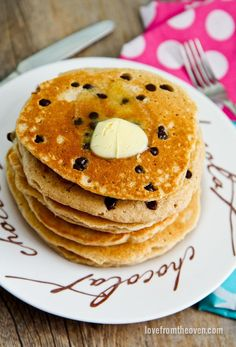 Chocolate Chip Oatmeal Pancakes.  I love that it freezes well and I can make a big batch on the weekend and have breakfast for the week!