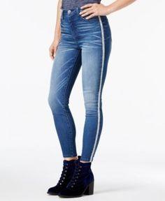Tinseltown Juniors' Glitter-Stripe Skinny Jeans - Blue 11