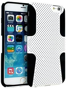 "myLife 2 Layer Neo Hybrid Bumper Case for iPhone 6 Plus (5.5"" Inch) by Apple {Bright White + Black ""Perforated Mesh Net Design"" Two Piece SECURE-Fit Rubberized Gel} myLife Brand Products http://www.amazon.com/dp/B00OYFMQR2/ref=cm_sw_r_pi_dp_dA8vub0403A40"