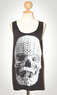 Tank top decorated with skull made of pills.