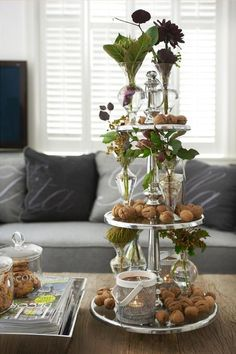 €79,95 Berkeley Glass Cakestand 3 Levels #living #interior #rivieramaison Tiered Server, Tiered Stand, Tier Tray, Seasonal Decor, Fall Decor, Autumn Decorating, Apothecary Jars, Canning Jars, Tray Decor