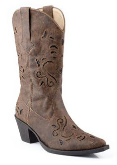 "Roper Womens Fashion Vintage Faux Leather 13"" Glitter Underlay Western Boots #Roper #FashionMidCalf"