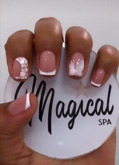 Aycrlic Nails, Swag Nails, Classy Nails, Simple Nails, French Manicure Nail Designs, Home Nail Salon, Square Nail Designs, Short Square Nails, Chanel Nails