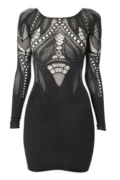 French Connection stretch-knit dress has cobweb lace across a flattering bodycon design.