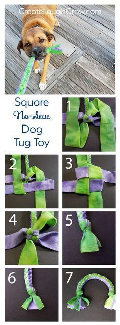 Fleece Square Knot Dog Tug Toy: DIY