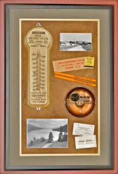 Shadow box of family memorabilia. Rather than have your history in a box, some of it can be displayed on your wall.